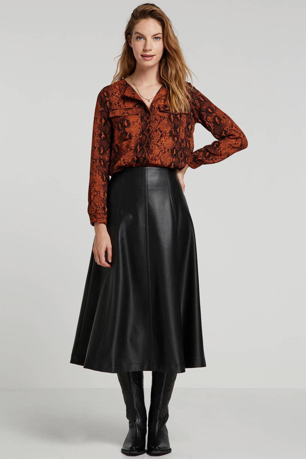 ONLY blouse met slangenprint bruin/zwart, Bruin/zwart