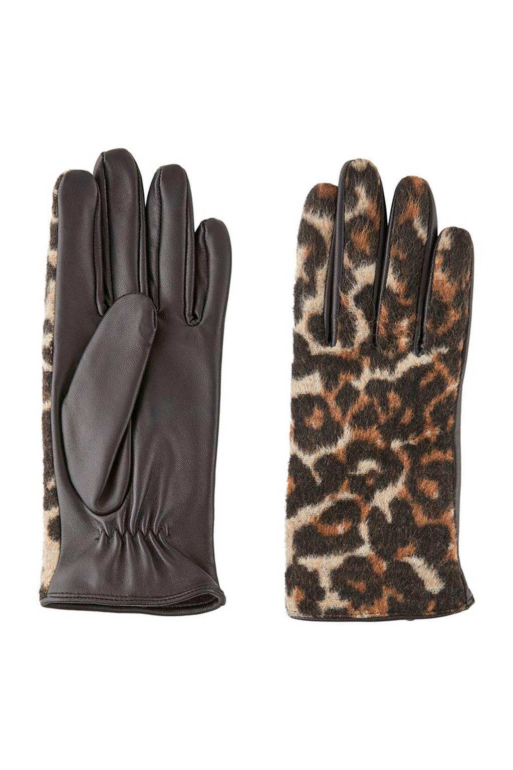 PIECES leren handschoenen Chailo met panterprint beige, Beige/Zwart/Bruin