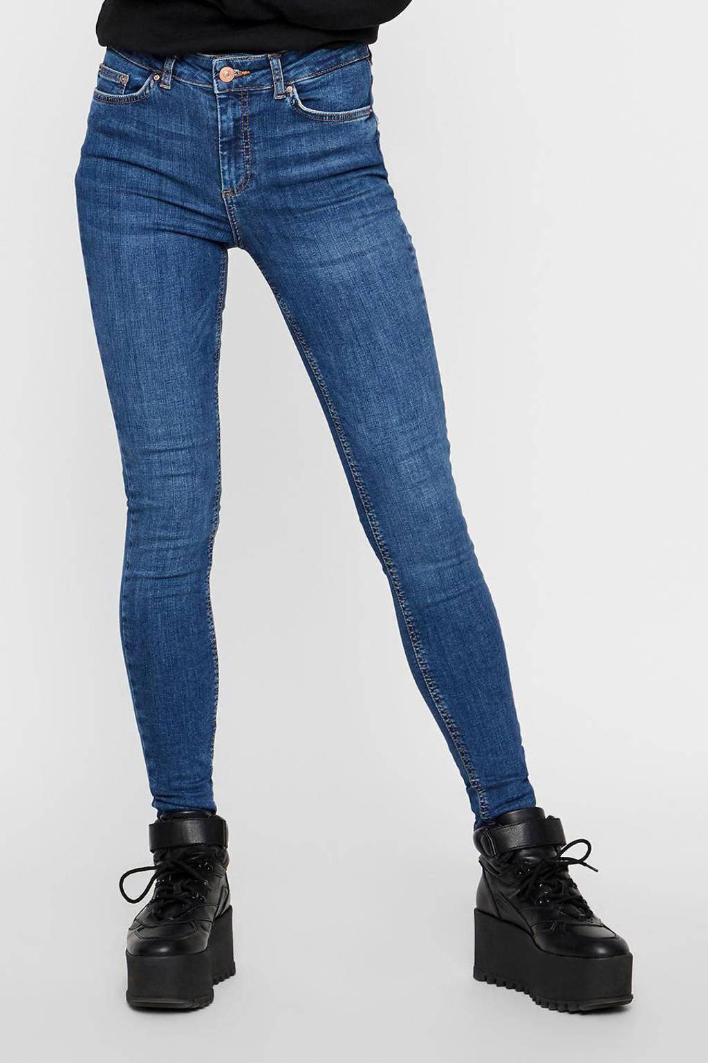 PIECES high waist skinny jeans PCDELLY medium blue denim, Blauw