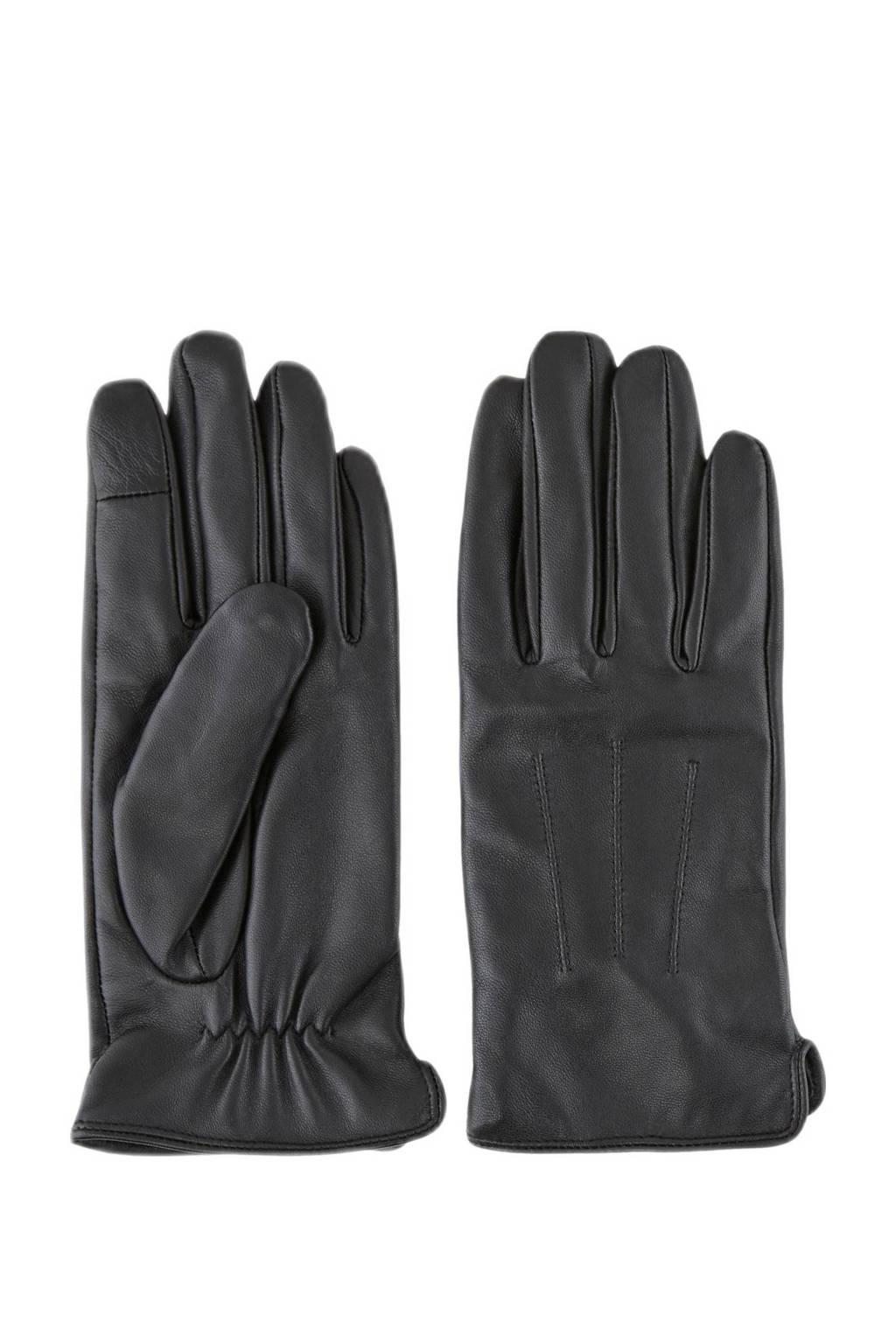PIECES leren handschoenen Nellie zwart, Zwart