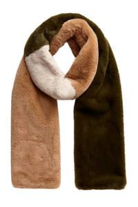 PIECES sjaal Hairy groen, Groen/bruin/wit
