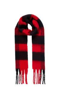 PIECES geruiten sjaal Chelga rood, Rood/zwart