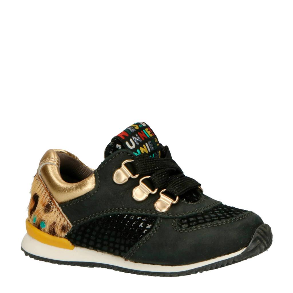 Bunnies  Rikky Ruig leren sneakers zwart/goud, Zwart/goud