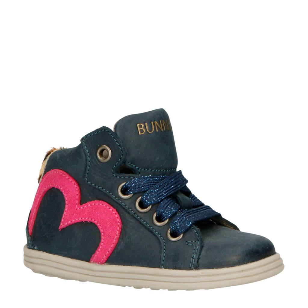 Bunnies  Sari Stoer leren sneakers blauw/roze, Donkerblauw/roze