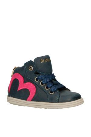 Sari Stoer leren sneakers blauw/roze