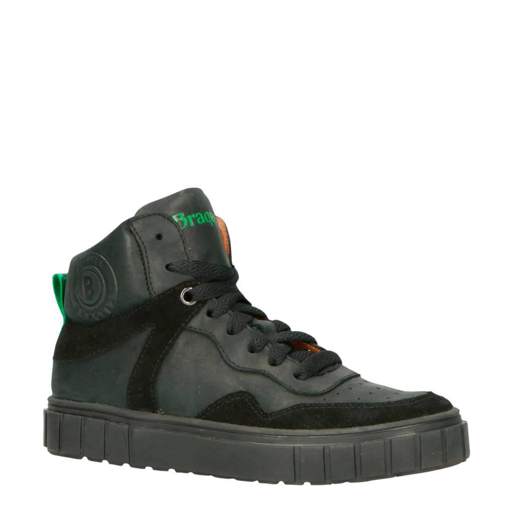 Braqeez  Lars Lux leren sneakers zwart, Zwart