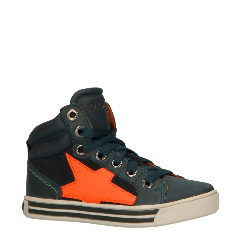 Braqeez  Dylan Day leren sneakers blauw/oranje, Blauw/oranje