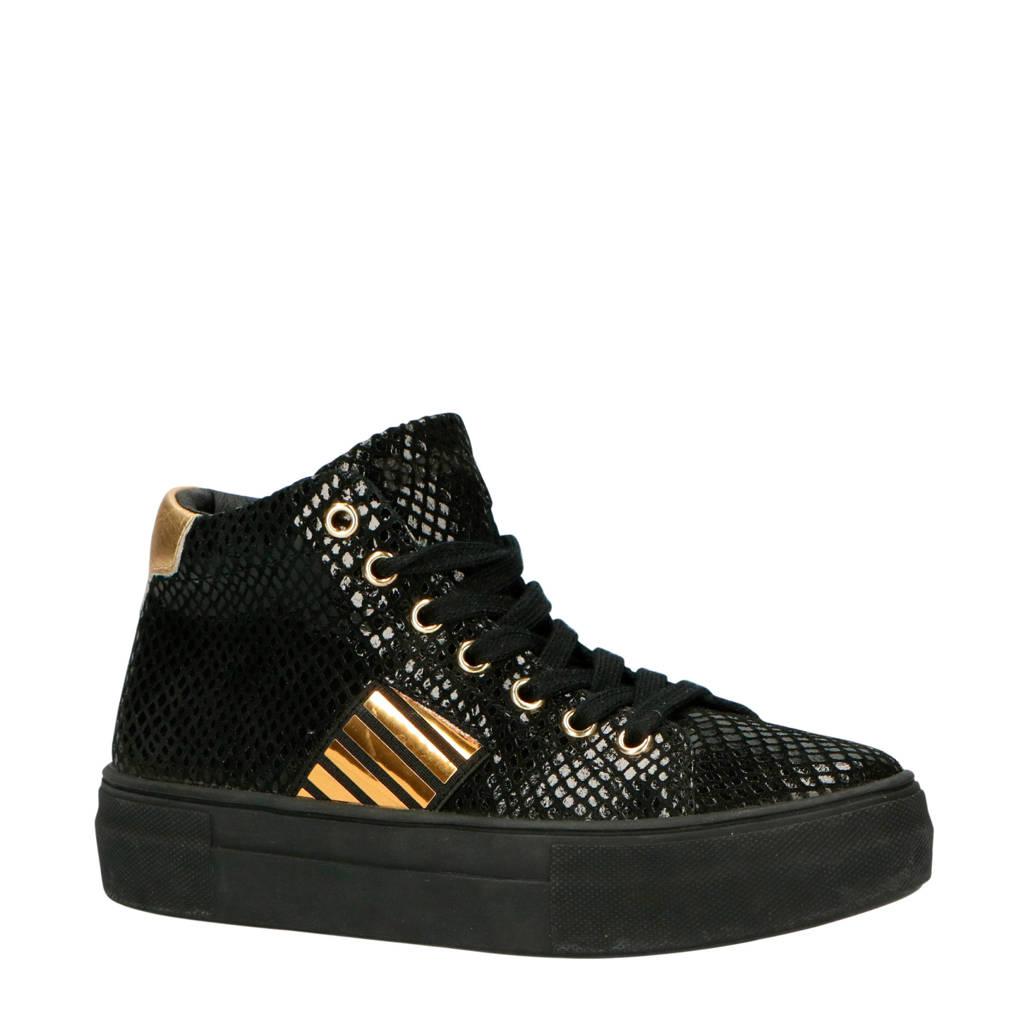 Braqeez  Daantje Dream leren sneakers zwart/goud, Zwart/goud