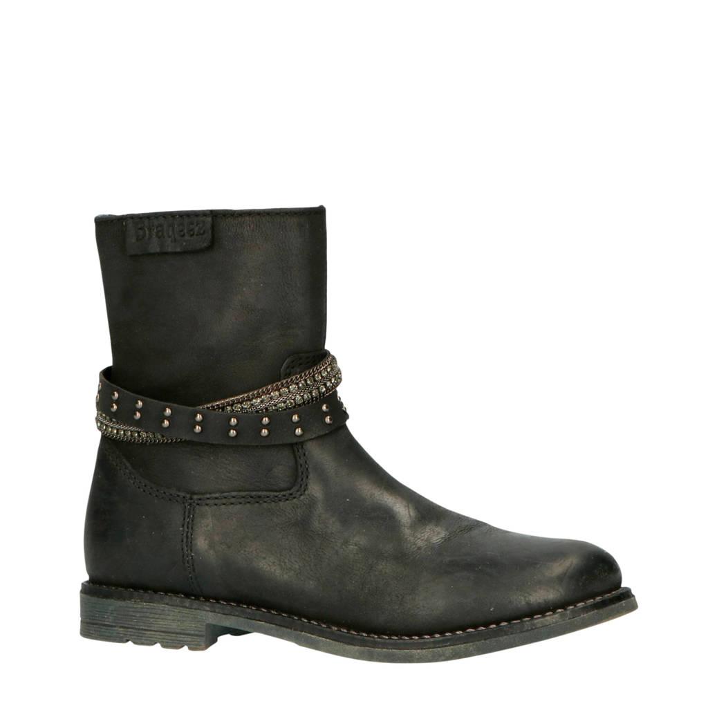 Braqeez   Nadja Nova leren laarzen zwart, Zwart/zilver