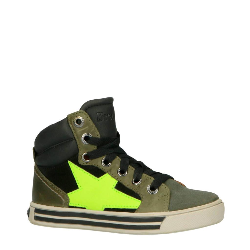 Braqeez  Dylan Day leren sneakers groen, Groen