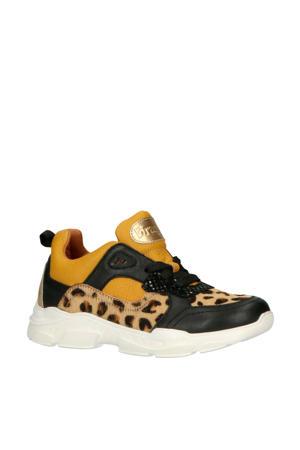 Renee Run leren sneakers geel/zwart