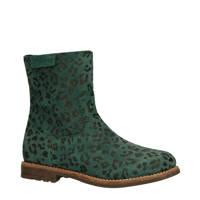 Braqeez   Noor Nova suède laarzen panterprint groen, Groen/zwart