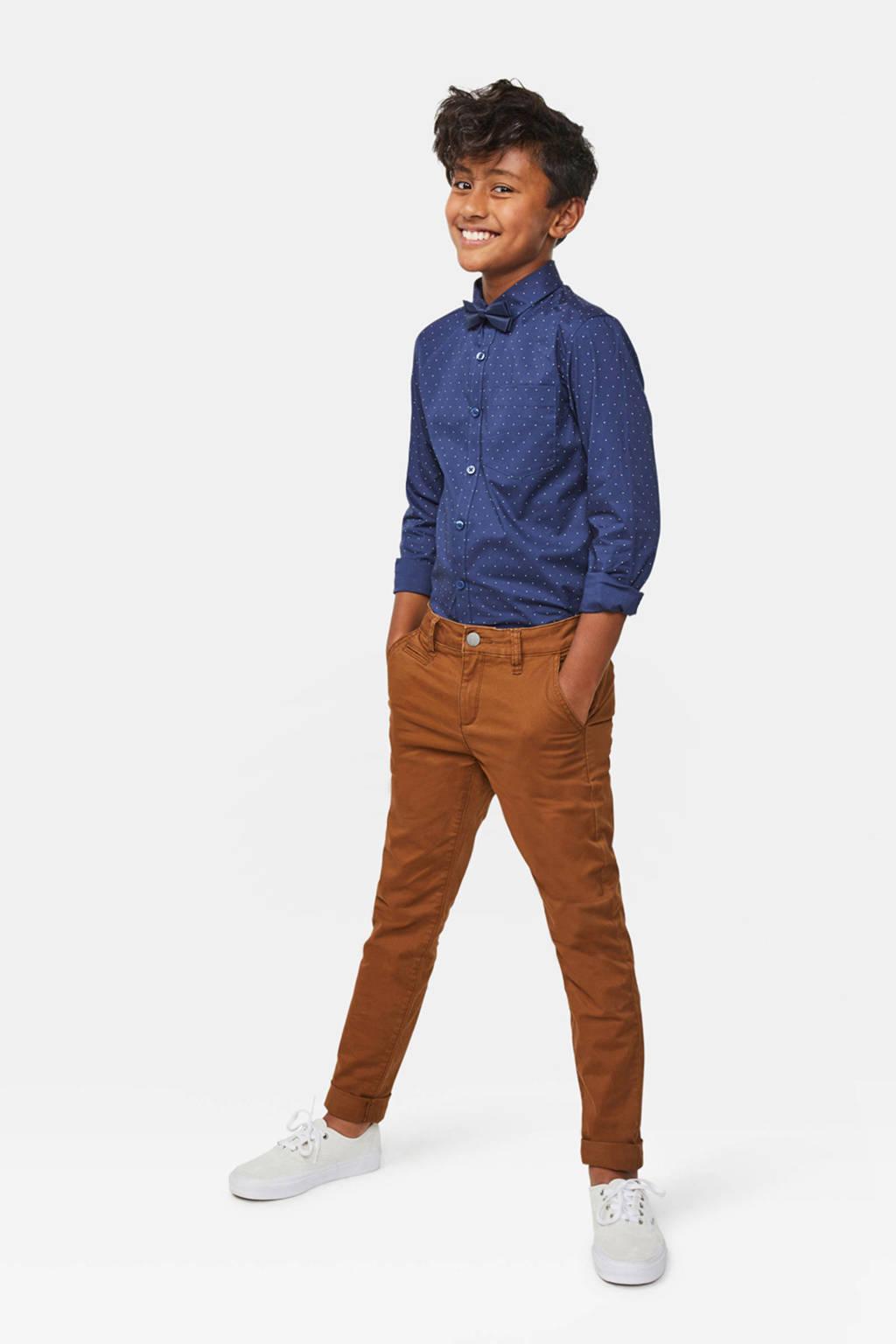 WE Fashion Blue Ridge skinny broek Vassil Chino bruin, Bruin