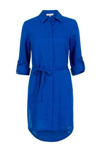 lange linnen blouse koningsblauw