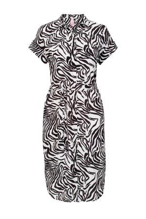 blouse met zebraprint en ceintuur zwart/wit