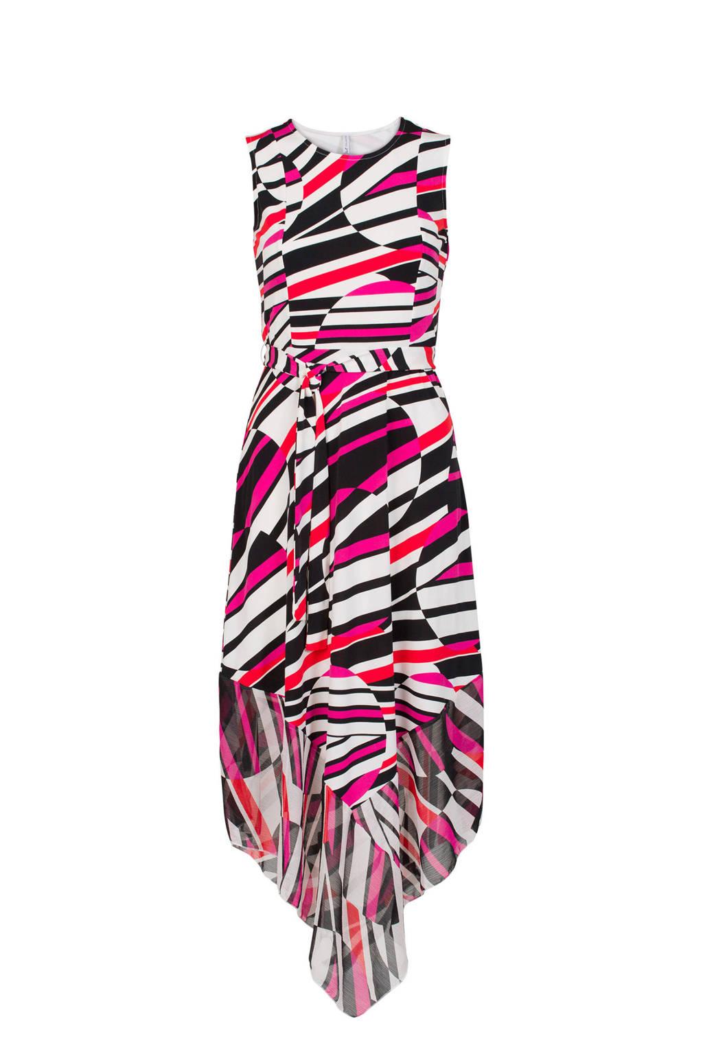 Miss Etam Regulier jurk met all over print roze/zwart, Roze/zwart