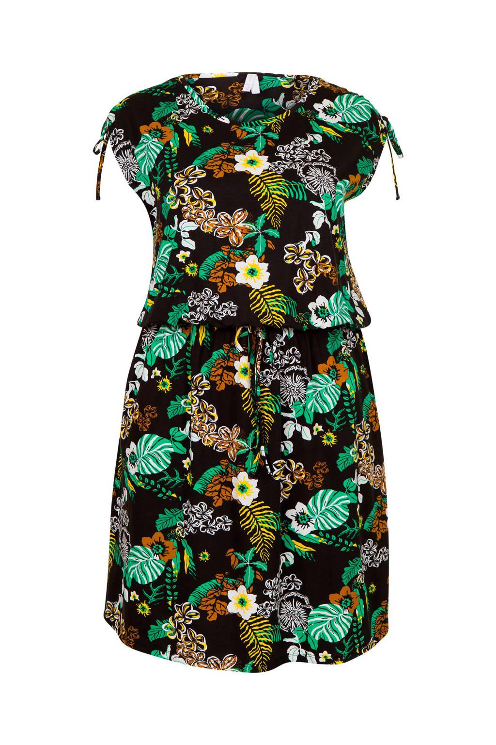 Miss Etam Plus gebloemde jurk, Zwart/groen
