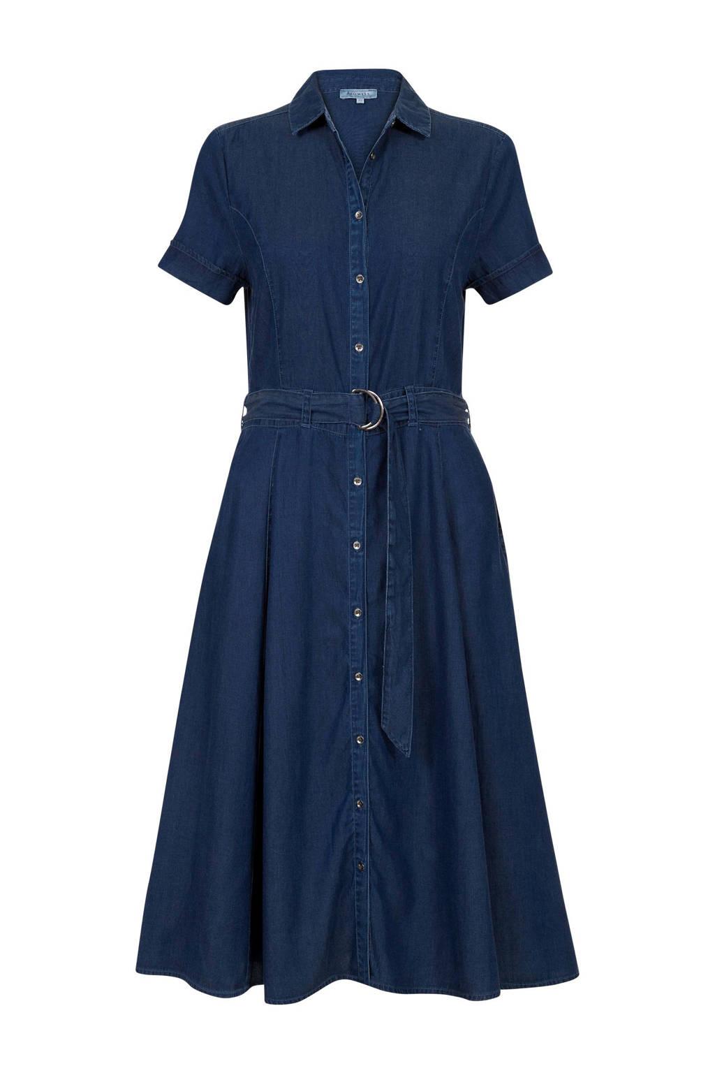 Promiss blousejurk met ceintuur donkerblauw, Donkerblauw