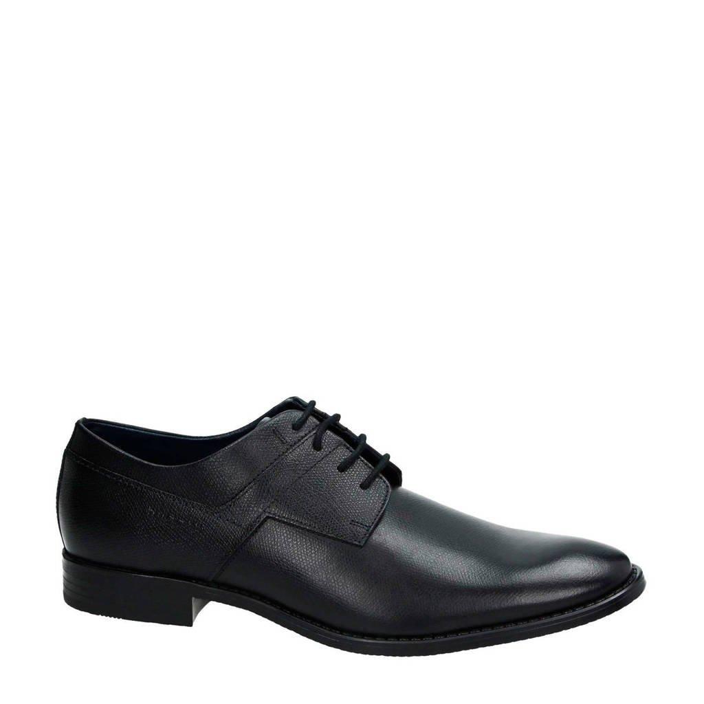 Bugatti   leren veterschoenen zwart, Zwart