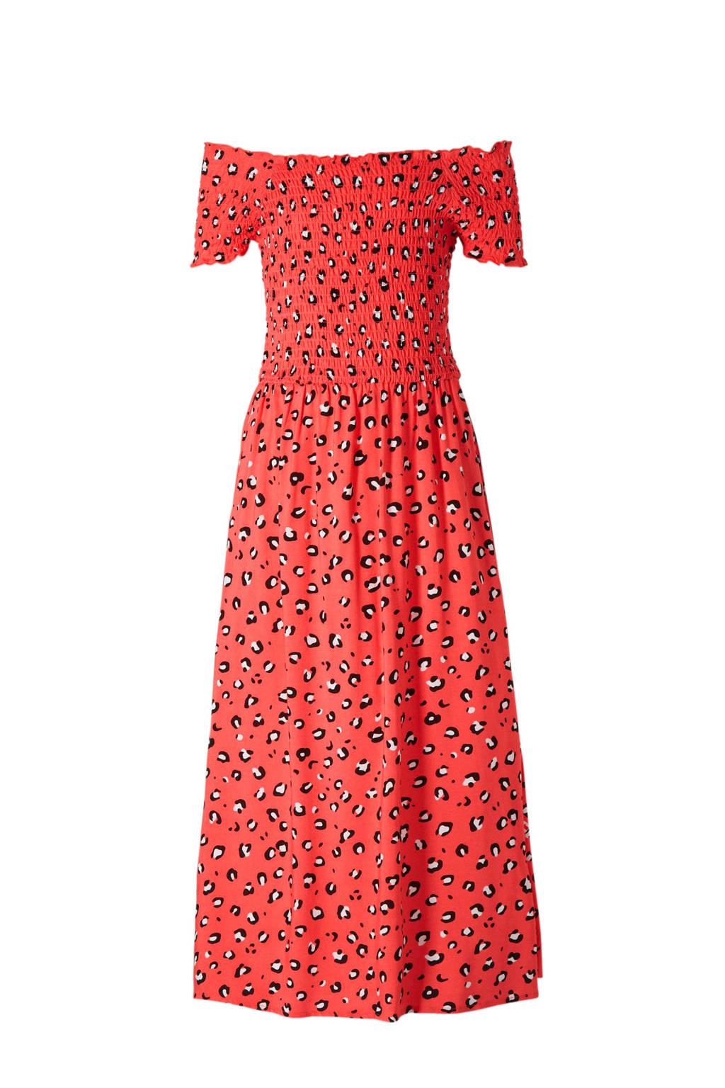 C&A Here & There off shoulder jurk met panterprint koraal, Koraalrood