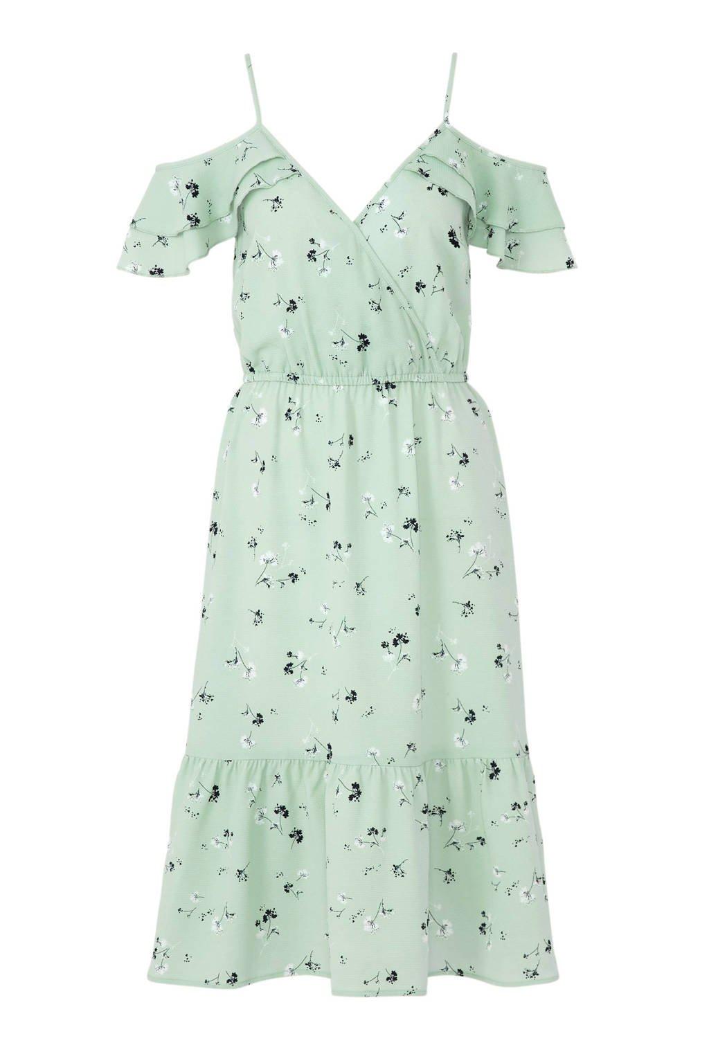 C&A Yessica jurk met bloemen en volant groen, Groen/blauw/wit