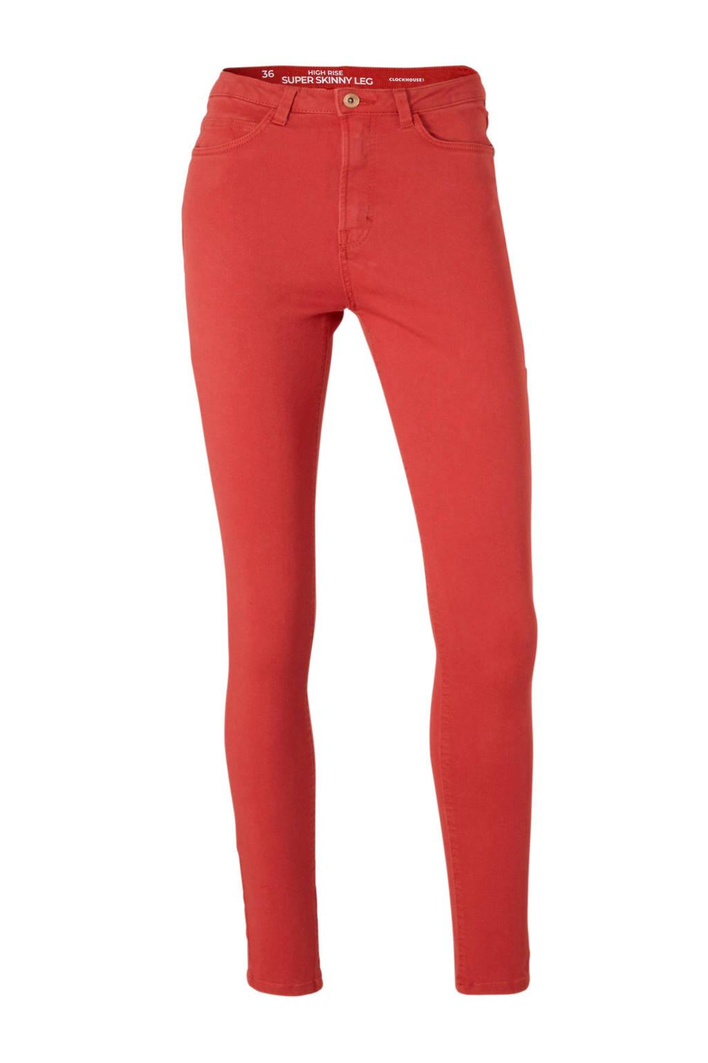 C&A Clockhouse high waist skinny jeans, Rood