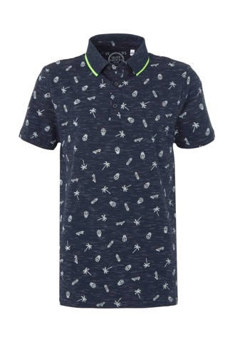 Here & There polo met all over print blauw