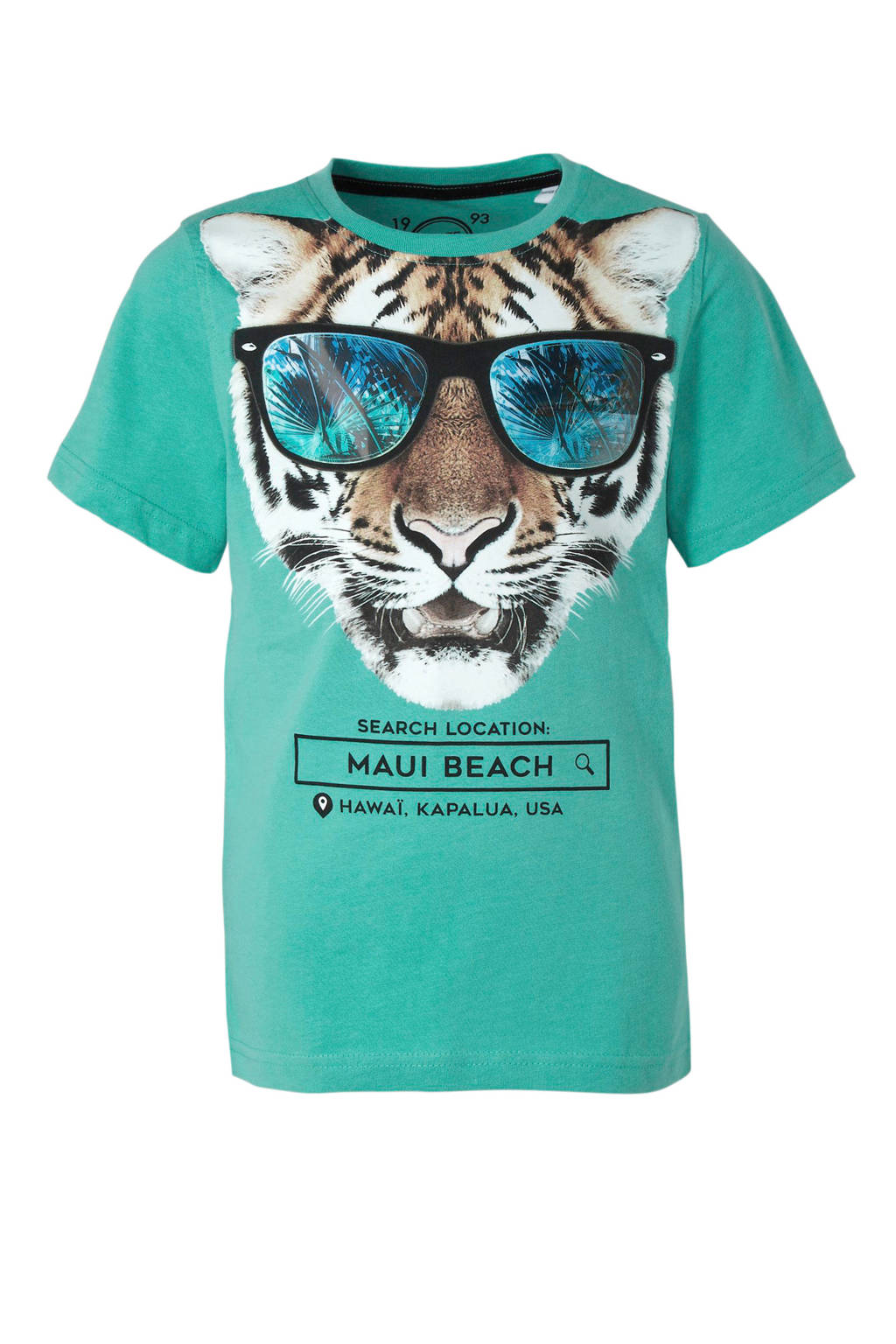 C&A Here & There T-shirt met tijger turquoise, Turquoise
