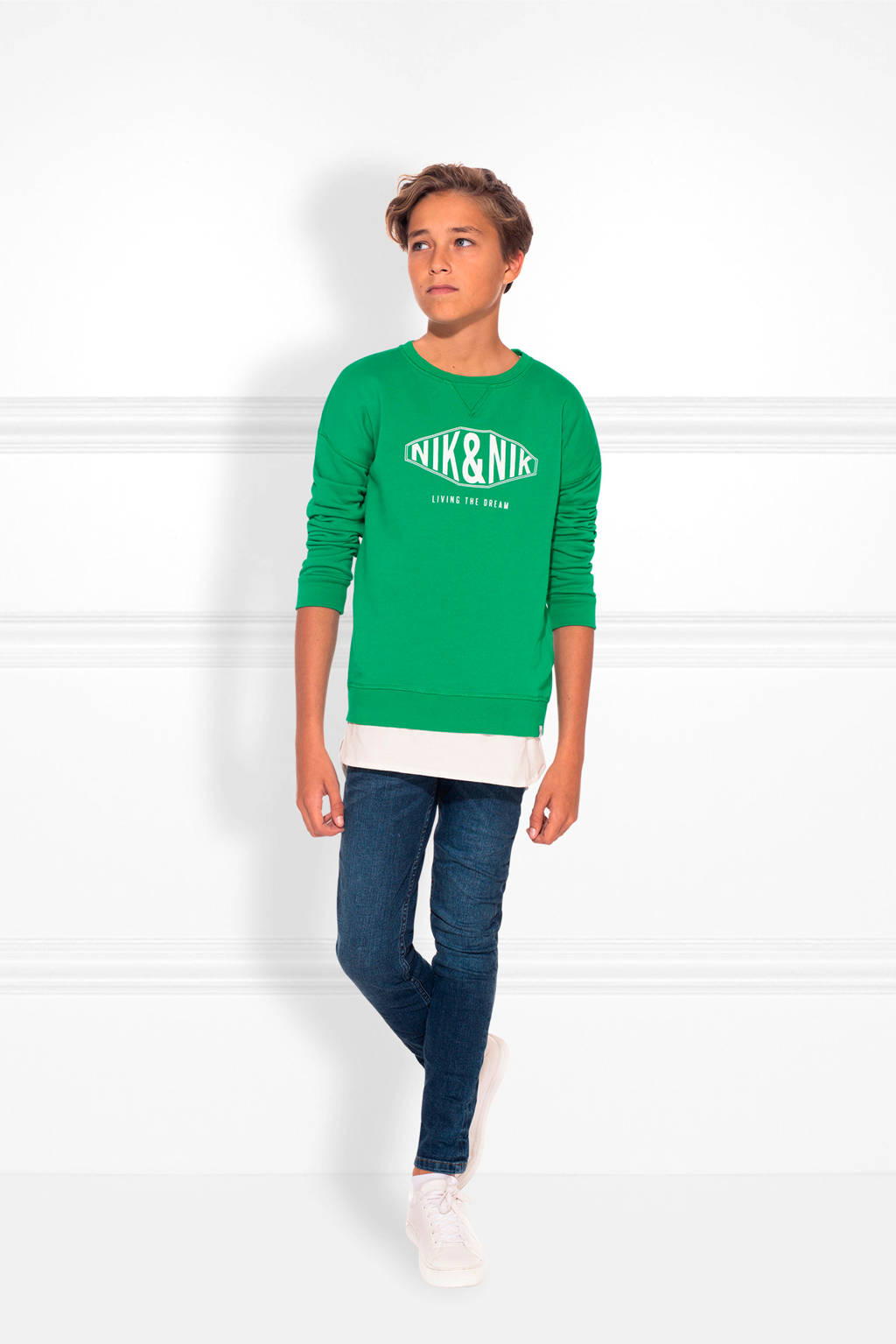 NIK&NIK sweater Living the Dream met logo groen, Groen
