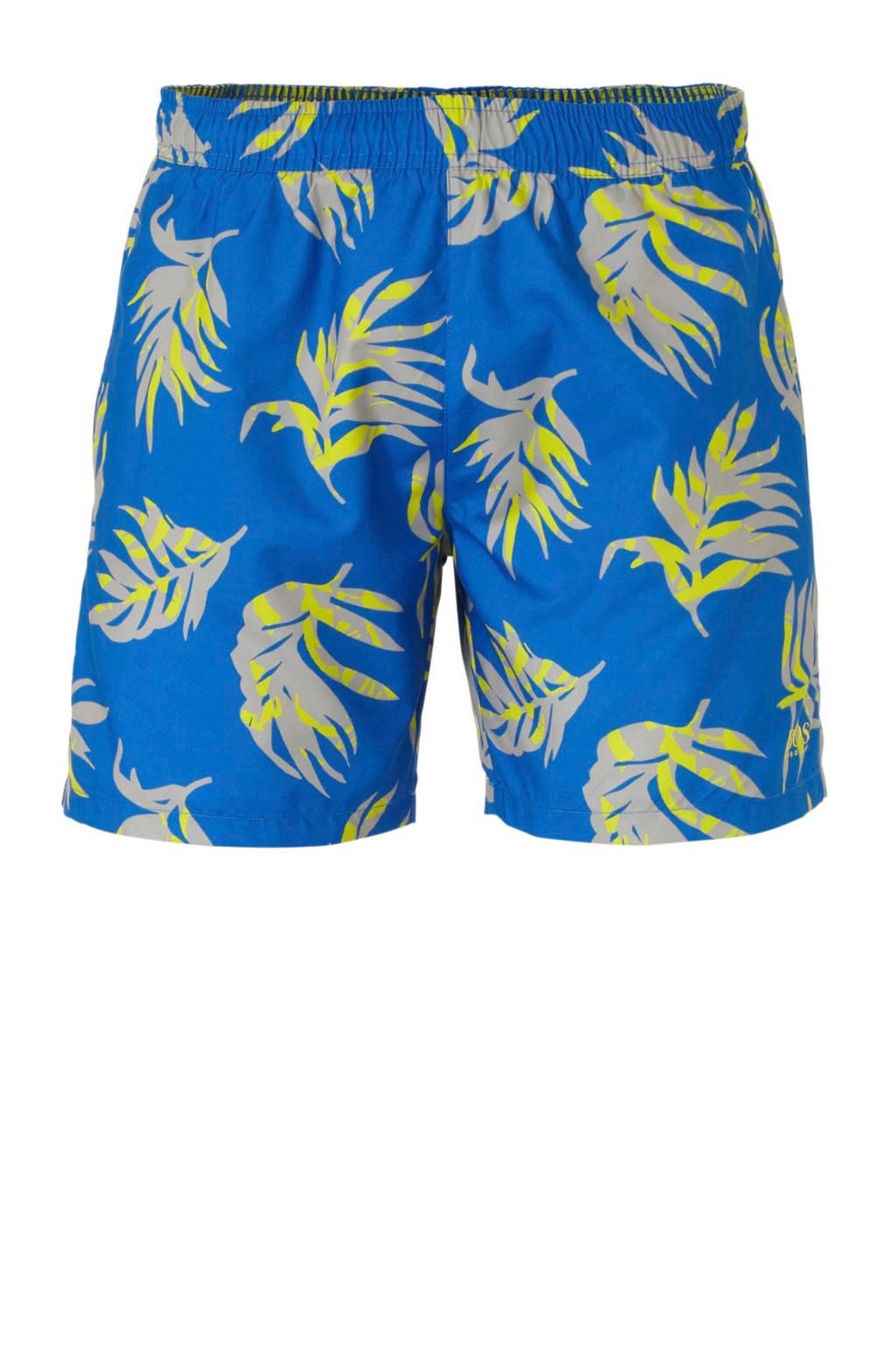 Boss zwemshort met all over print blauw, Blauw/grijs/geel