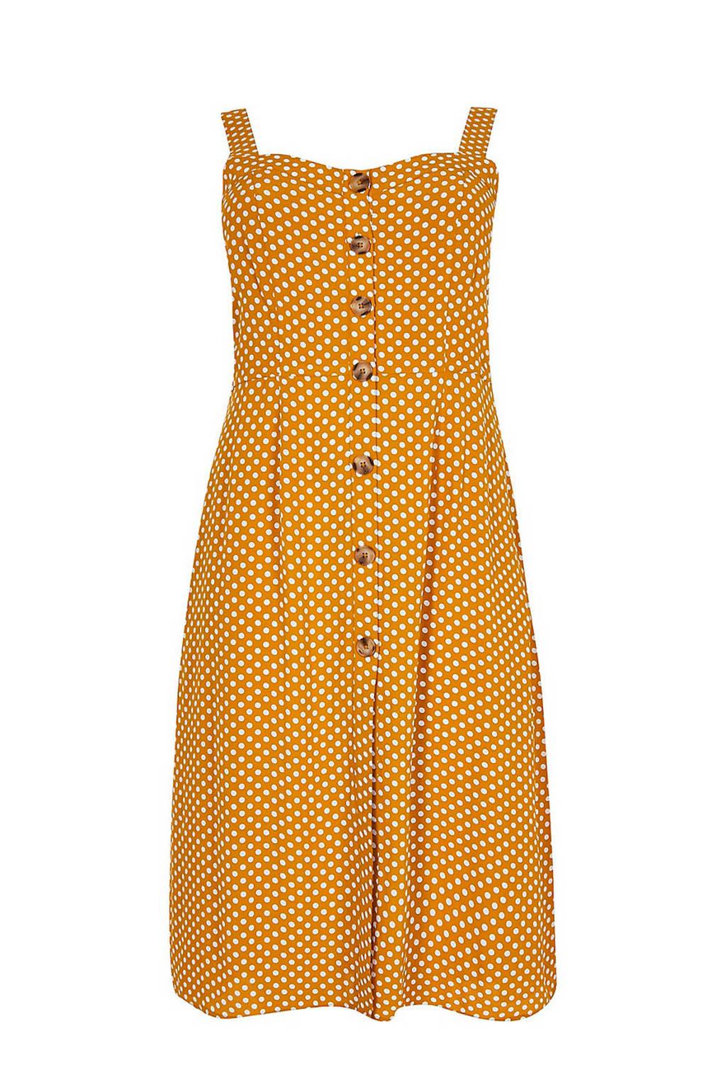 River Island Plus jurk met stippen, geel/ecru