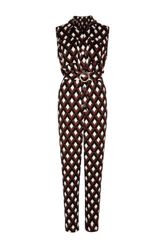 jumpsuit met all over print bruin/ecru/zwart