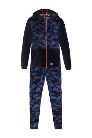 onesie met camouflage print donkerblauw