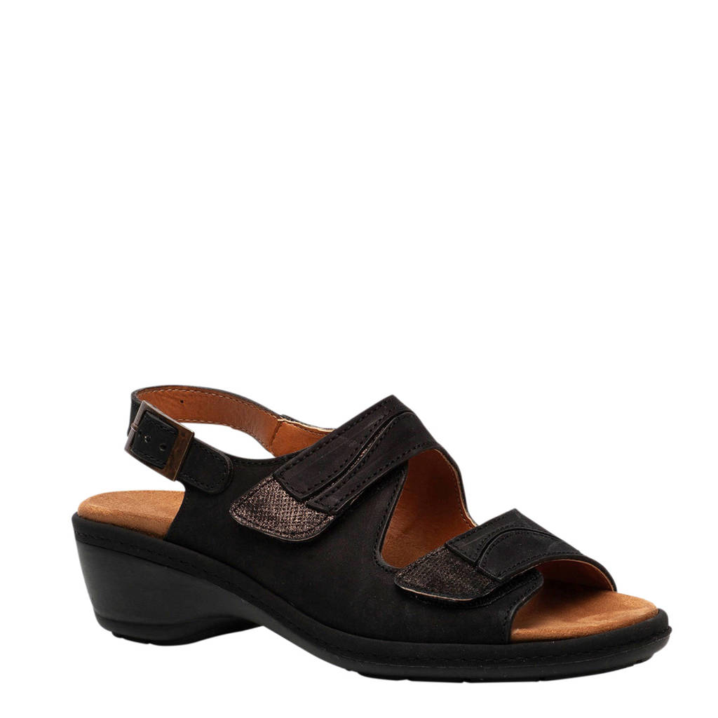 Scapino Natuform leren sandalen zwart, Zwart