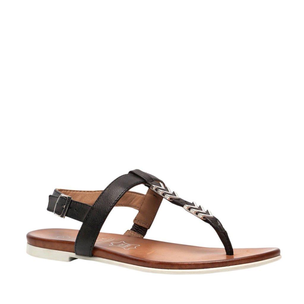 TwoDay leren sandalen zwart, Zwart