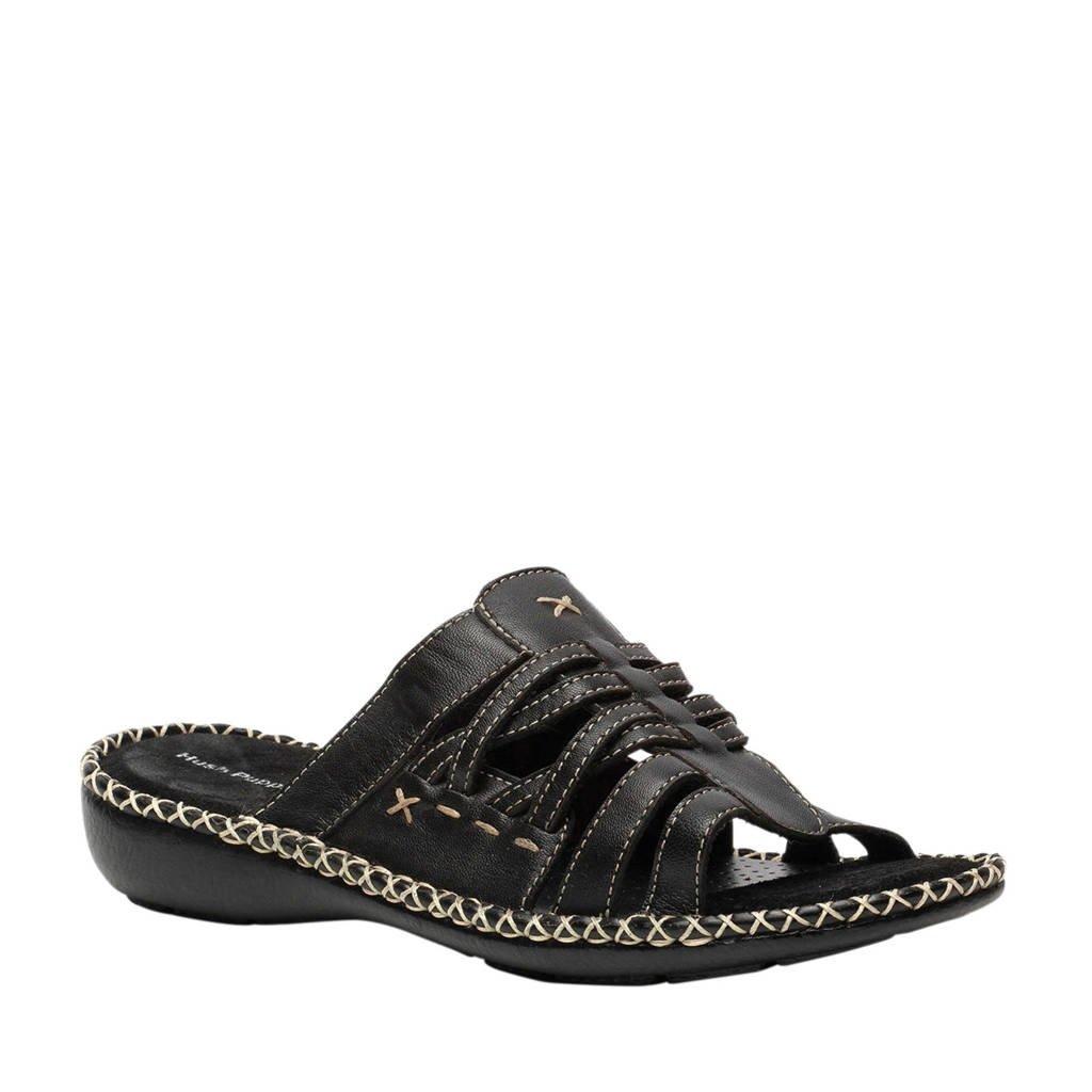 Hush Puppies leren slippers zwart, Zwart
