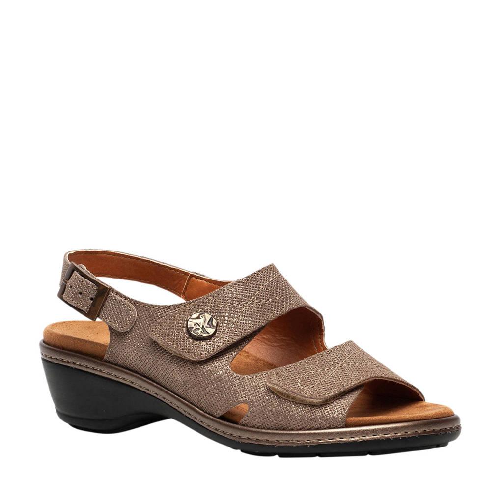 Scapino Natuform leren sandalen taupe, Taupe/bruin