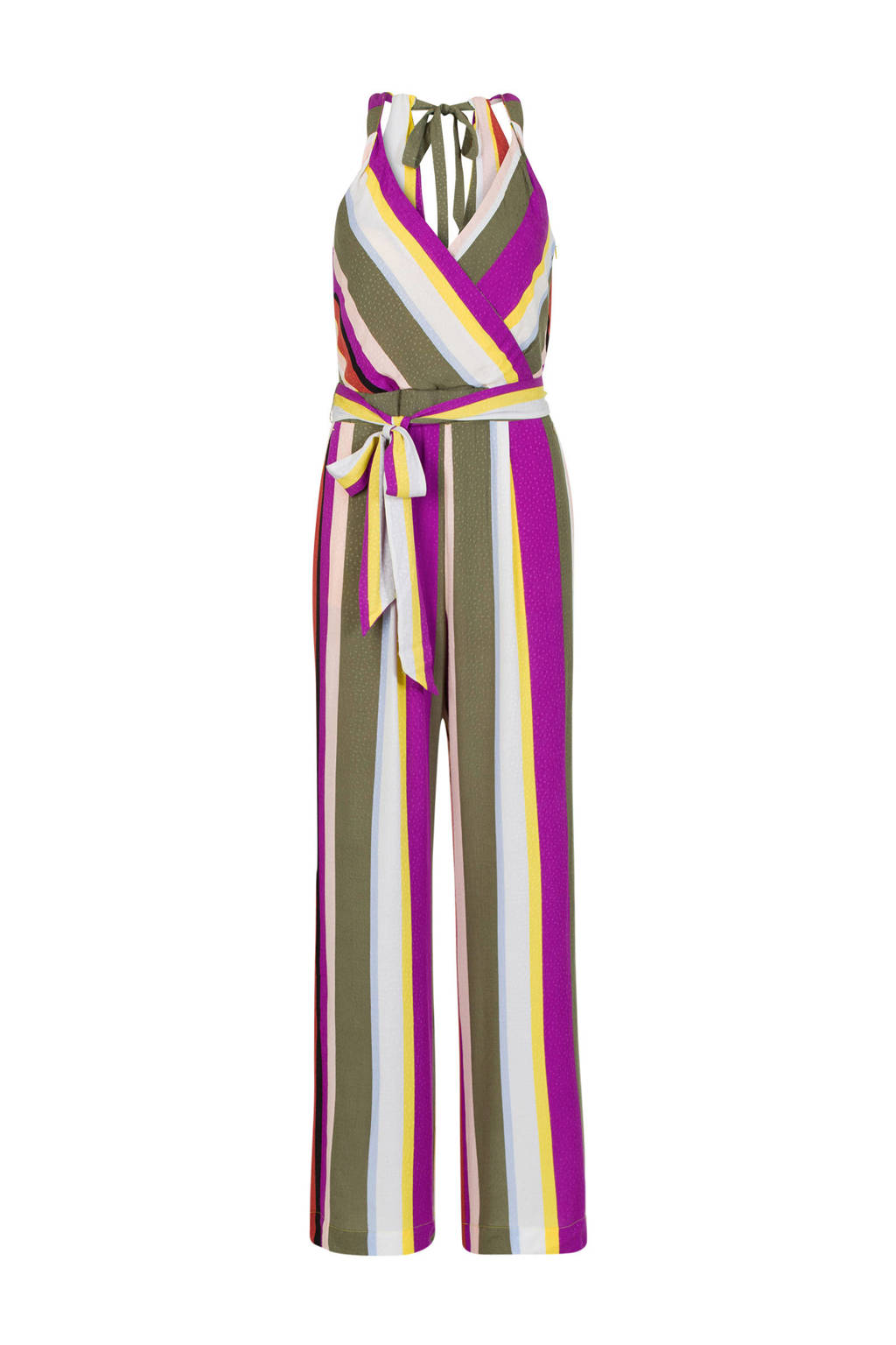 Steps gestreepte jumpsuit paars/geel, Paars/geel