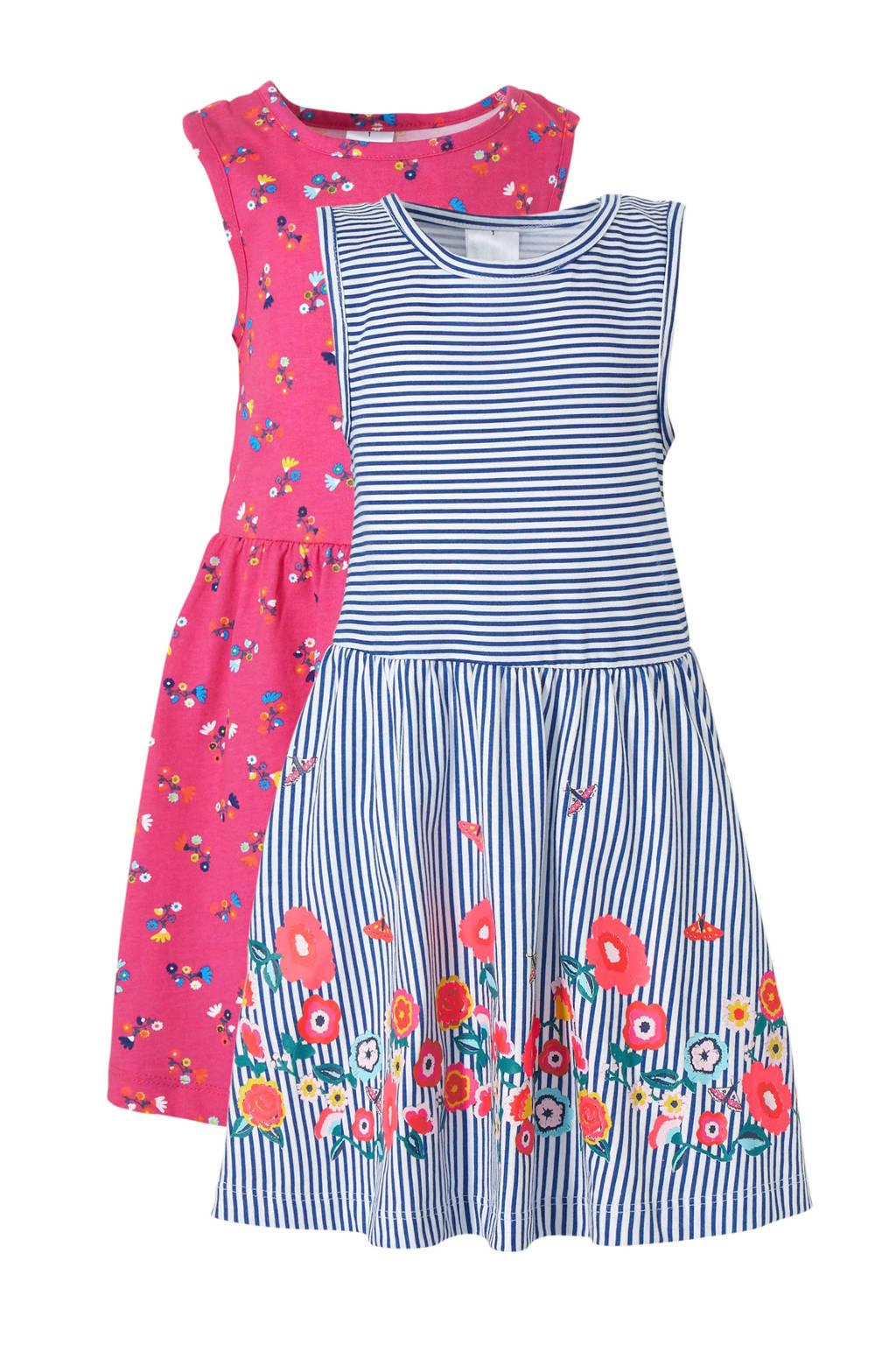 C&A Palomino jurk -  set van 2, Blauw/wit/roze