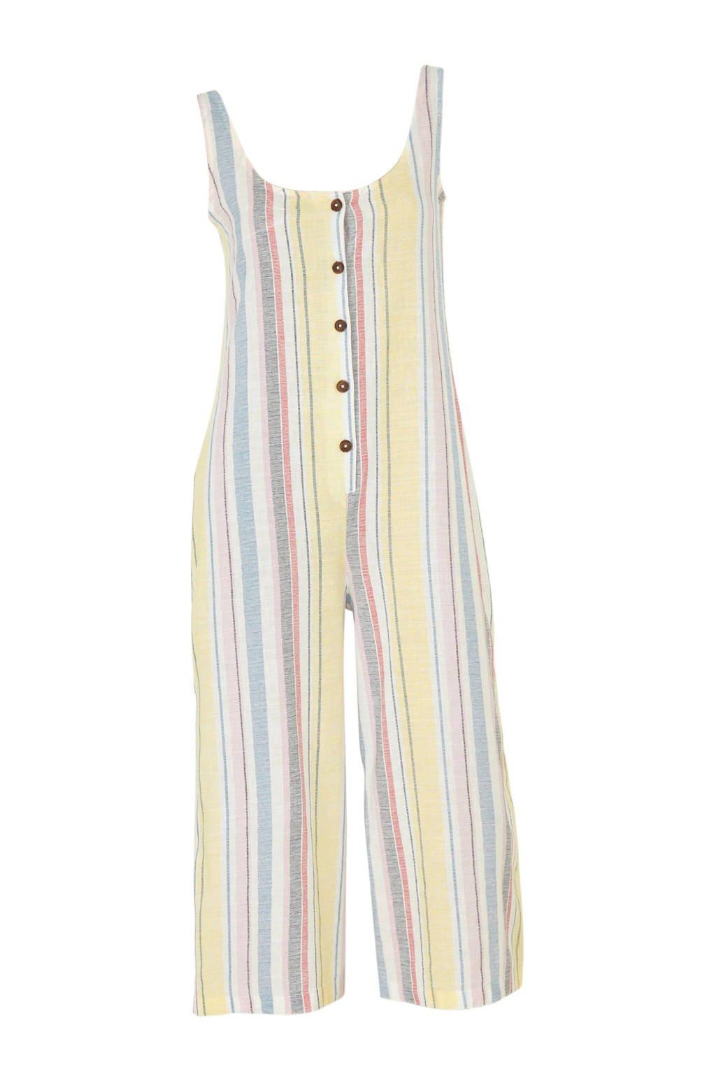 C&A Clockhouse gestreepte jumpsuit met linnen geel, Geel