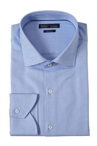 regular fit overhemd met visgraat blauw