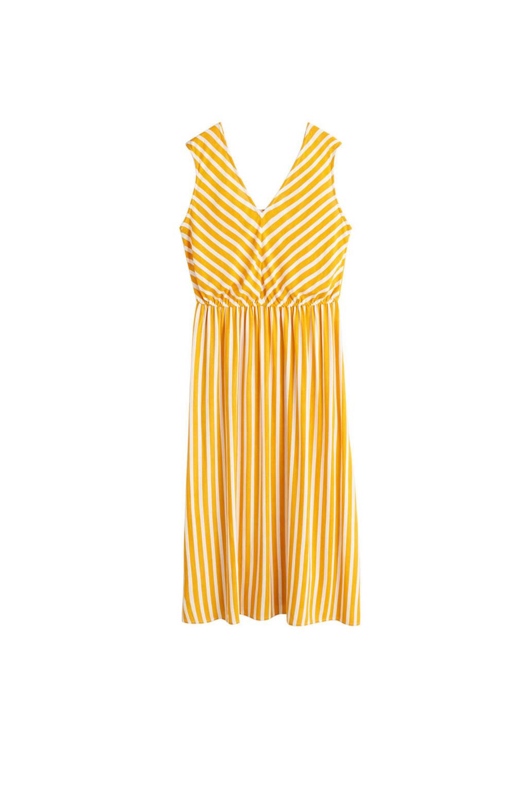 Violeta by Mango gestreepte jurk geel, Geel/wit