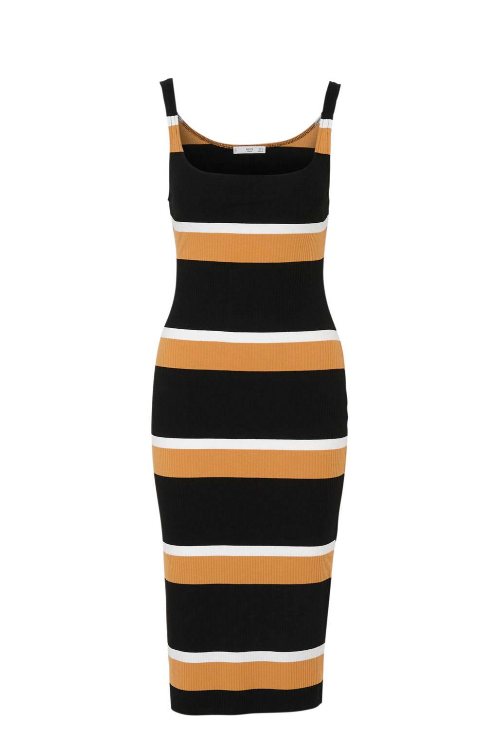 Mango gestreepte jurk zwart/oker/wit, Zwart/oker/wit