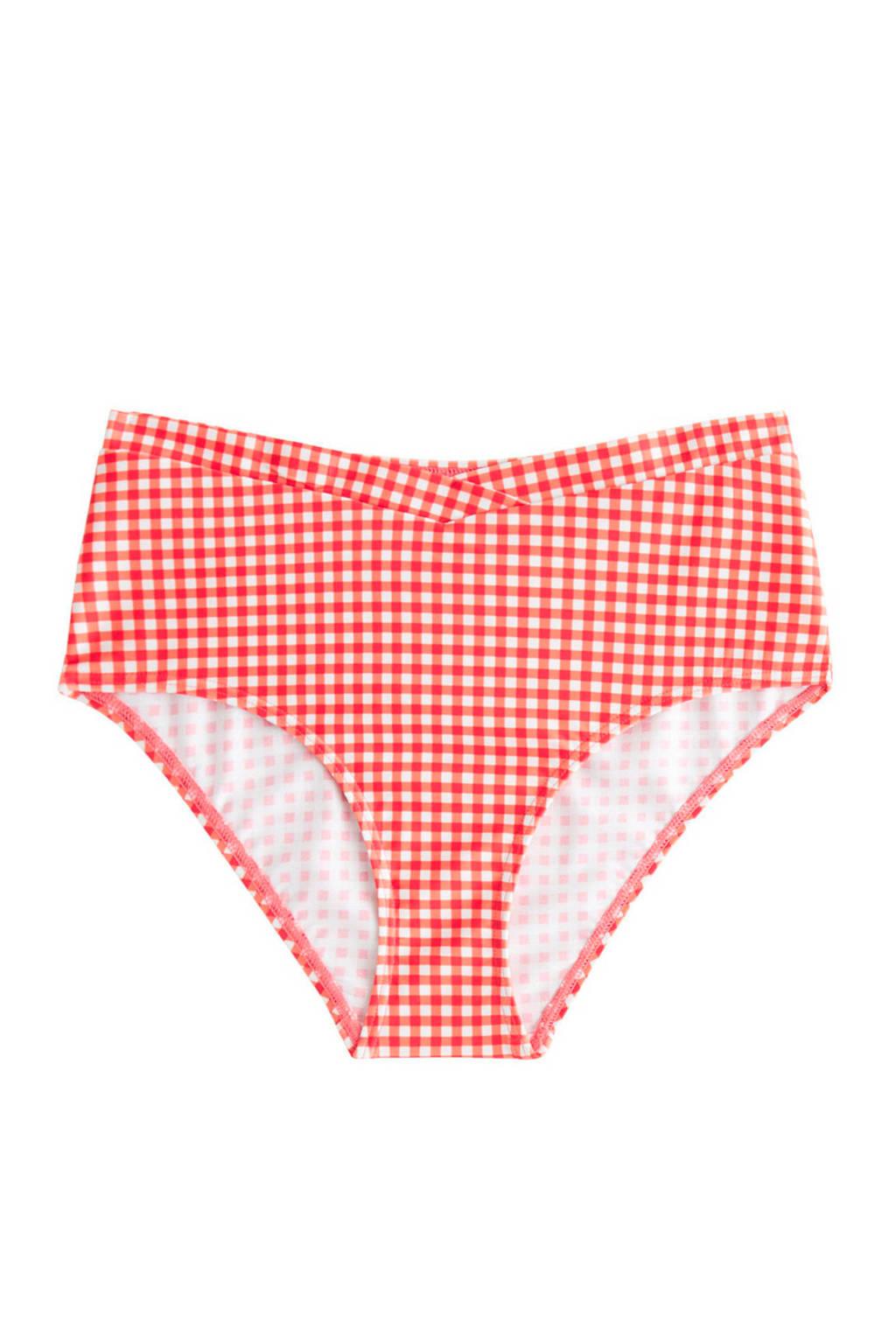 Mango geruit hipster bikinibroekje rood, Rood/wit