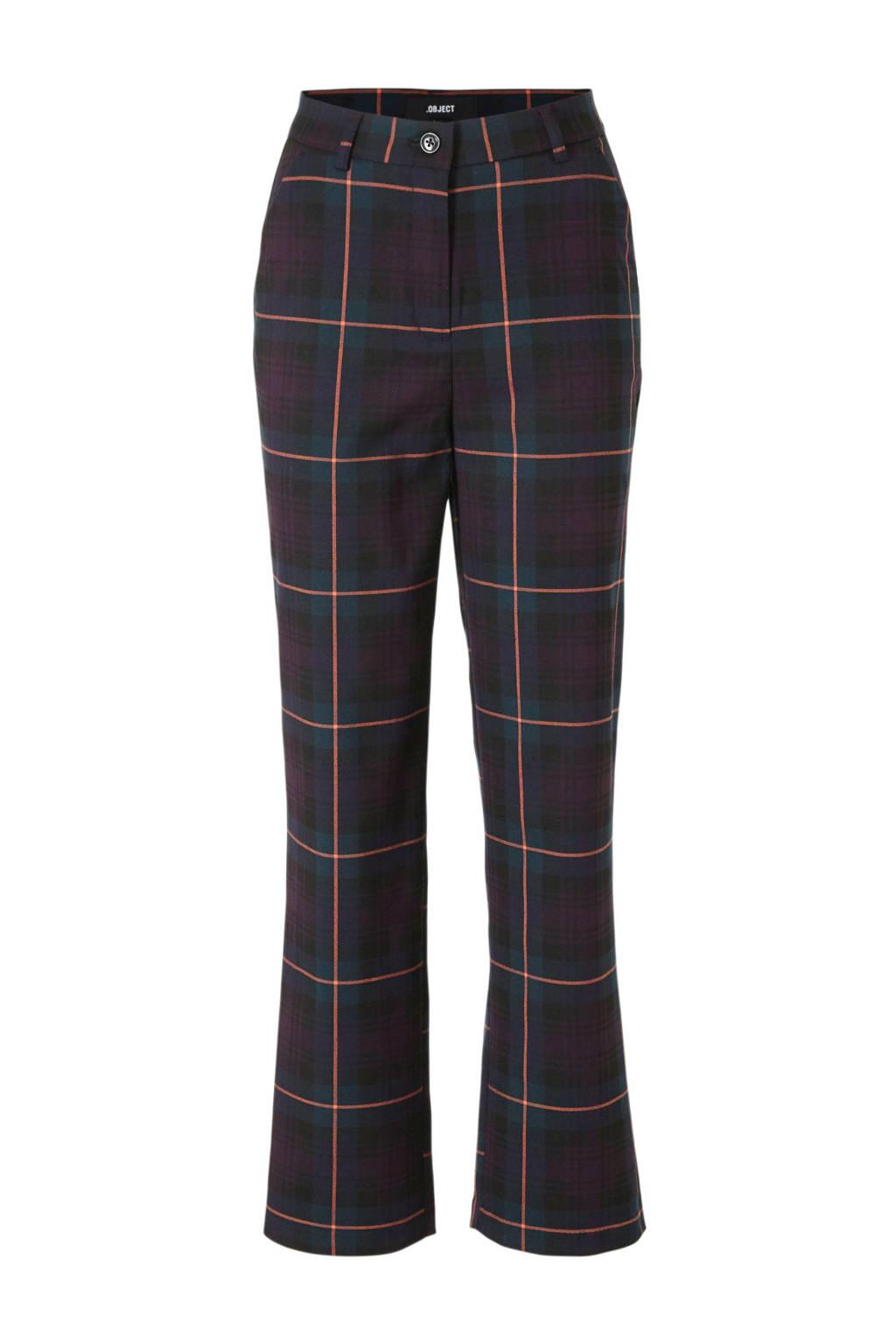 OBJECT geruite regular fit pantalon paars/zwart, Paars/zwart