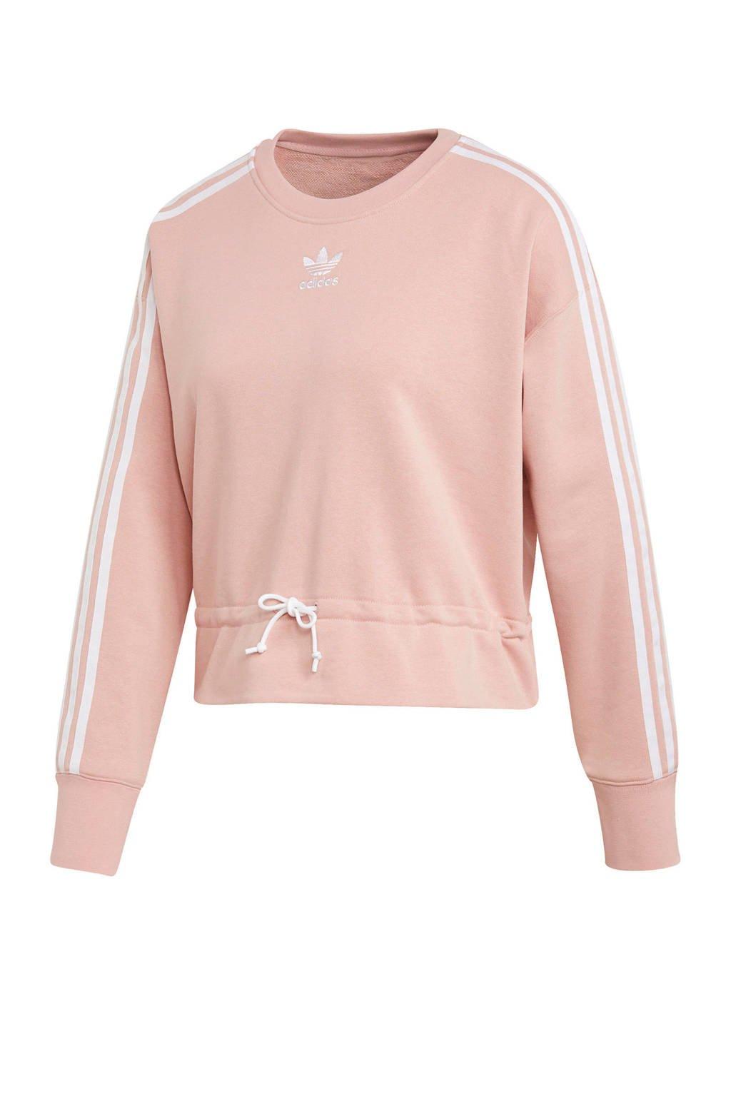 adidas Originals cropped sweater roze, Roze/wit