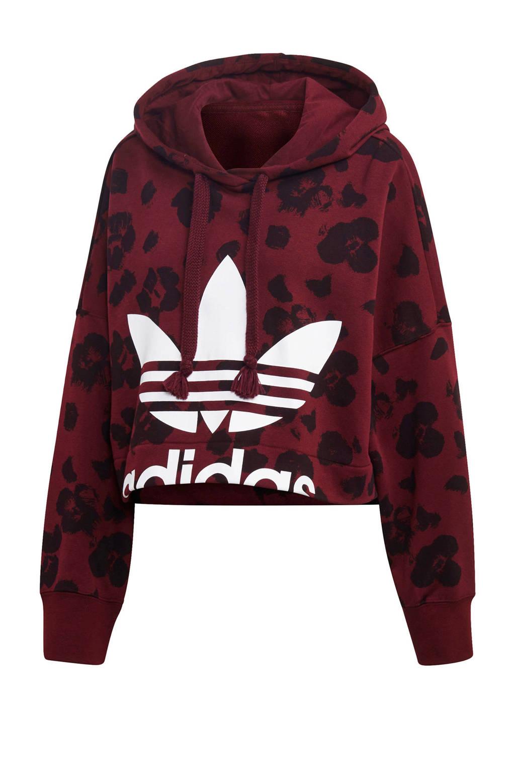 adidas originals cropped hoodie  donkerrood, Donkerrood/zwart/wit