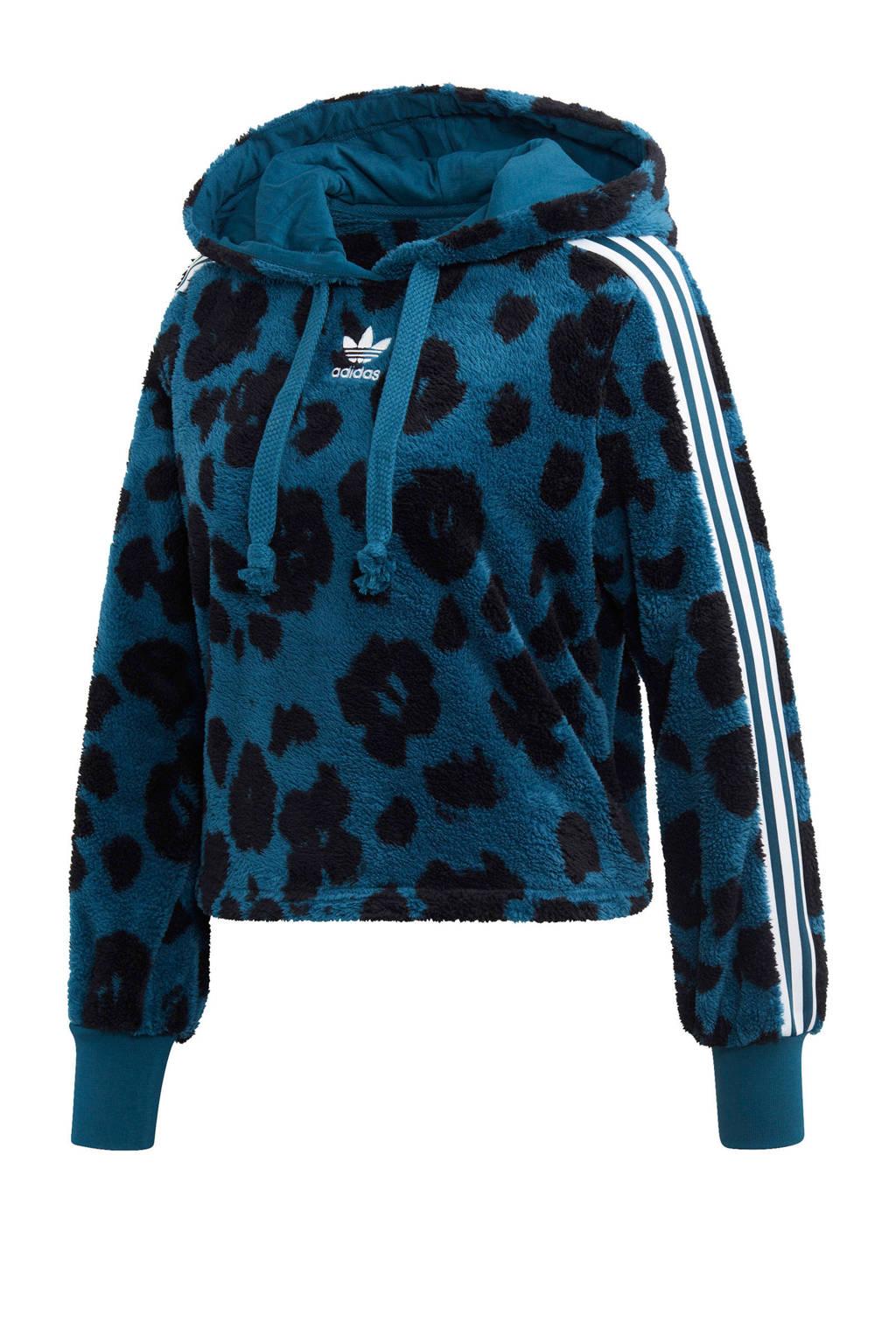 adidas originals fleece hoodie blauw/zwart, Blauw/zwart