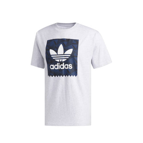 adidas originals T-shirt lichtgrijs-blauw