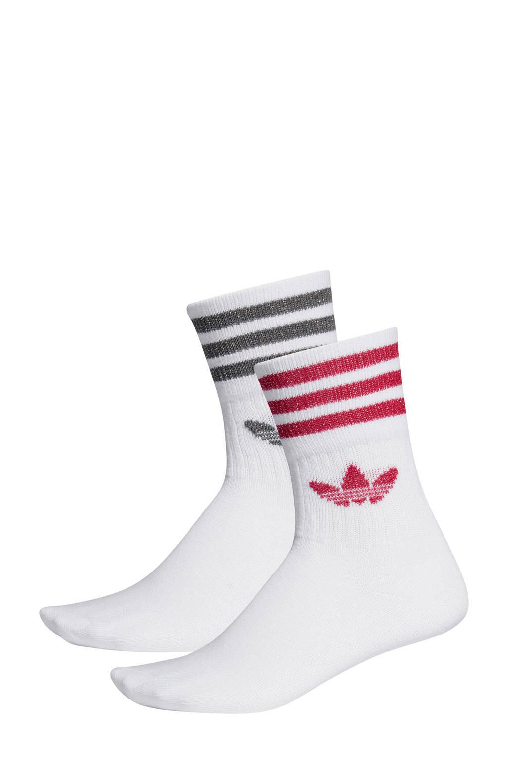 adidas originals sokken (set van 2) roze/grijs, Wit/roze/grijs